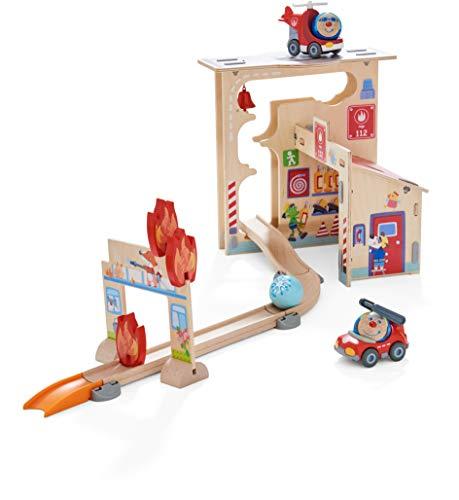 HABA 304847 - Kullerbü – Spielbahn Feuerwehrwache, Holzkugelbahn mit vielen Spieleffekten, Feuerwehrauto und Feuerwehrhubschrauber, Motorikspielzeug ab 2 Jahren
