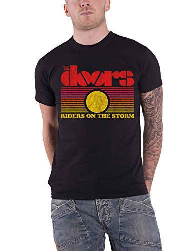 The Doors T Shirt Riders On The Storm Sunset Band Logo Official Mens Black