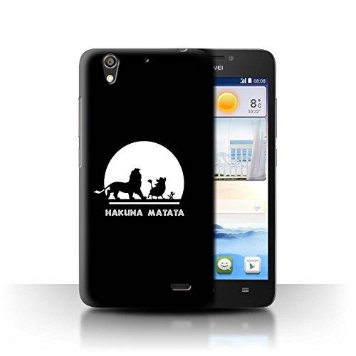 Hülle Für Huawei Ascend G630 Karikatur Afrikanische Tiere Hakuna Matata Design Transparent Ultra Dünn Klar Hart Schutz Handyhülle Hülle