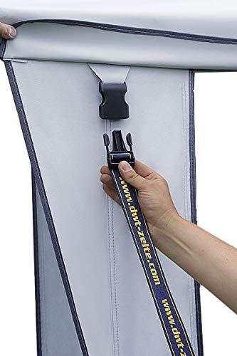 dwt Sicherheitsgurt Plus XL Set Schnittlänge 320 cm 4 Ösen Zelt Zubehör Wohnwagen Spanngurt Sturmband Sturmsicherung Sicherungsseil Abspannseile Zugfeder Schnalle