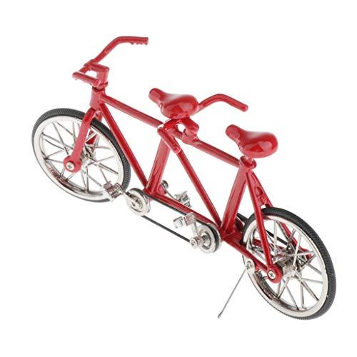 perfeclan Escala De Aleación 1:16 Tandem Bike Bicicleta Modelo Réplica De Juguetes De Colección para Niños, Amigos, Colegas Y Compañeros De Clase Rojo Completo