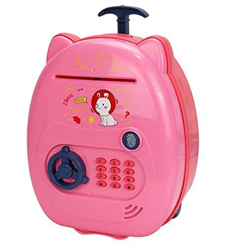 Popcornon Salvadanaio Bancomat Elettronico per Bambini Giocattolo per Bambini, Salvadanaio Cassaforte Salvadanaio Blocco Codice Password per Bambini,Rosa
