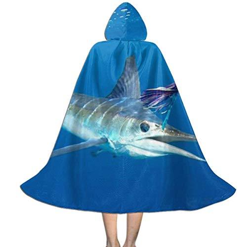 Amanda Walter Sea Striped Marlin Fisch Kids Hooded Cloak Cape für Halloween Weihnachtsfeier, Kinder Cosplay Hexen Zauberer Vampir Kostüme mit Hut