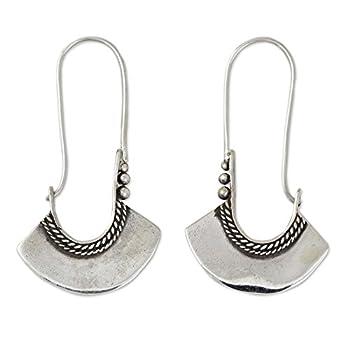 NOVICA .925 Sterling Silver Hoop Earrings with Hook Backfinding Hollow Bell