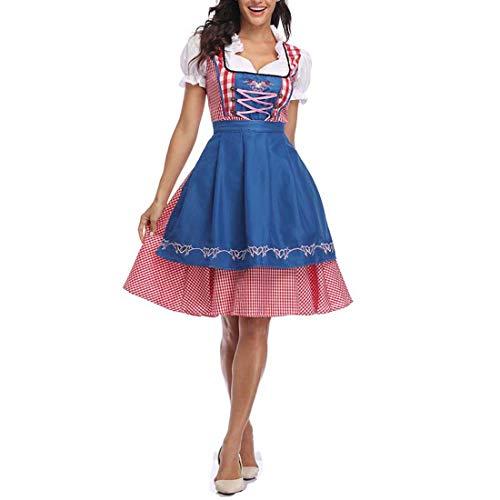 Women's Bavarian Beer Maid Costume Plaid Dirndl Dress Tradtional German Oktoberfest Wench Fancy Dress (L, Blue)