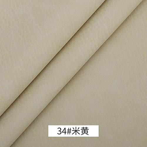 1 Meter Gek Paard Faux Eco Lederen Vinyl Nep Dikke Pu Lederen Zwart Materiaal voor Meubels Auto Stoel Golf Automotive Doek 34 beige