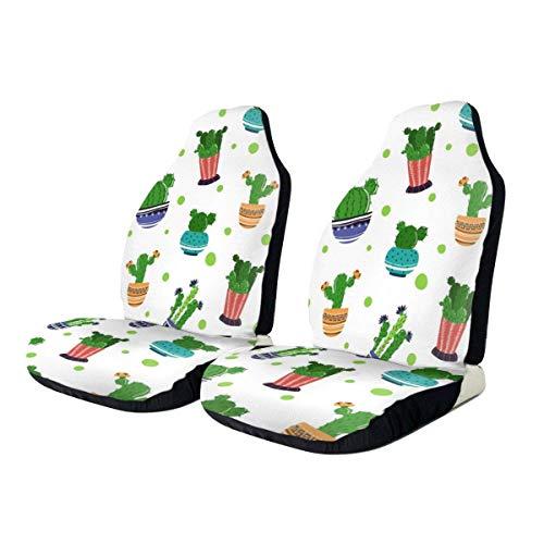 Front Seat Cover, cartoon planten bloemen autostoelovertrek, perfecte auto voorstoelbekleding voor autobestuurders, 2 stuks