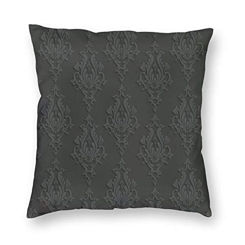 Decorative Cushion Covers with Antique Damask Pattern In 3D Style Classic Old Fashioned Floral Design,for Sofa Office Decor Cotton and Linen Cushion Covers 18*18Inch