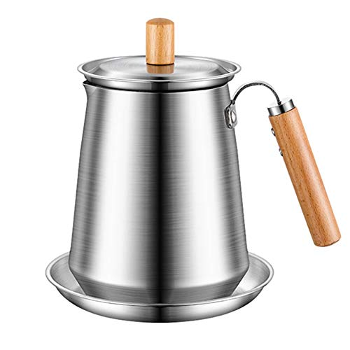 Filtro Del Aceite Colador Contenedor Grasa, Mango De Madera, Acero Inoxidable Antifugas Separador Y Guardián Multifunción Para Almacenamiento De Aceite De Freír Cocina (1.5L)