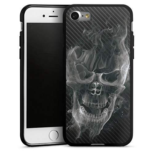 DeinDesign Silikon Hülle kompatibel mit Apple iPhone 7 Hülle schwarz Handyhülle Totenkopf Schädel Carbon