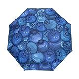 Kleiner Reiseschirm Winddicht Regen im Freien Sonne UV Auto Compact 3-Fach Regenschirmabdeckung - Reife saftige Schwarze Blaubeere nahtlos