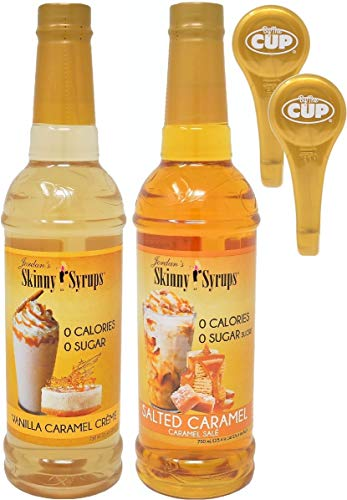 Jordan's Skinny Syrups Sugar Free Vanilla Caramel Crème and Salted Caramel 750 ml Bottles with 2 By The Cup Syrup Pumps
