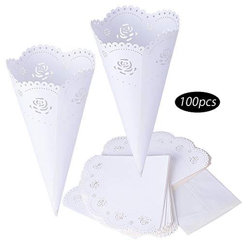 50pcs Conos Papel Arroz Boda Blanco Cucuruchos Petalos Confeti Decoración Boda con Adhesivo de Doble Cara