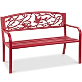 Best Choice Products Outdoor 50in Steel Park Bench Porch Chair Yard Furniture w/Pastoral Bird Design Backrest, Slatted Seat - Red