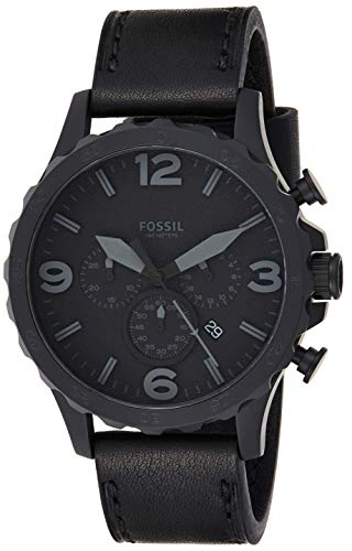 Fossil Men's Nate Quartz Stainless Steel and Leather Chronograph Watch, Color: Black (Model: JR1354)