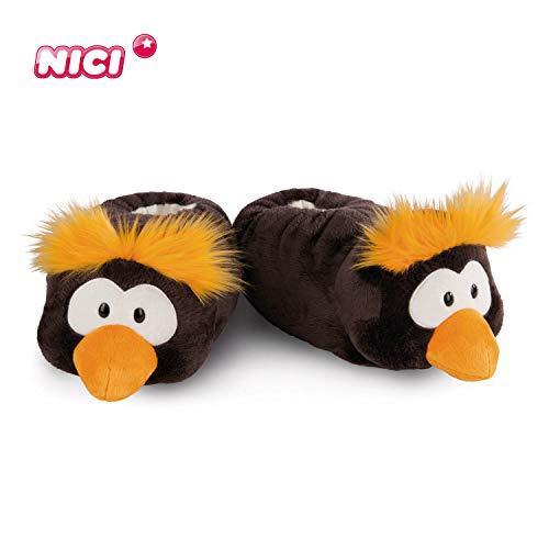 NICI Hauschuhe Pinguin Frizzy Gr. 38-41, L – Plüsch-Hauschuhe Kinder rutschfest – Warme Kuscheltier Hausschuhe Winter für Mädchen & Jungen – Tier-Schuhe mit Anti-Rutsch Sohle – Slippers – 44133