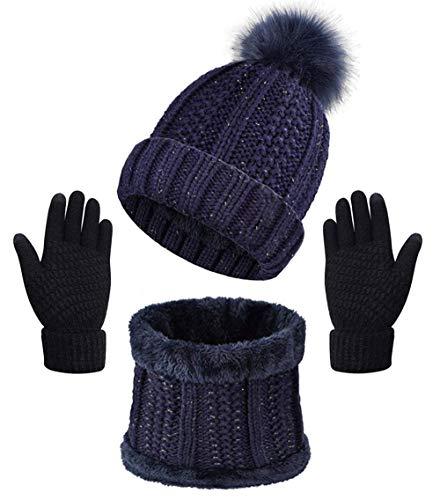 Yutdeng Damen Winter Warm Knit Mütze Hut Schal Handschuhe Set Touchscreen-Handschuhe Strick mit Kreis Loop Schal Fleece Gefüttert für Ski 3-in-1 Winter-Set(Navy blau,Einheitsgröße)