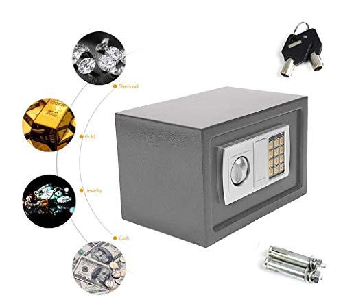 YLLN 8.5L Caja Fuerte de Seguridad electrónica Digital para la Oficina en el hogar, se Puede Montar en la Pared con 2 Pernos para Anclaje, 20x31x20 cm (Gris)