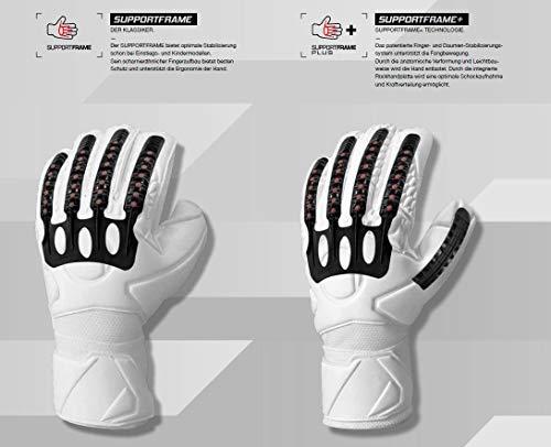 uhlsport Torwarthandschuhe Next Level-Supersoft-In den Größen 6-11 Innenhand Keeper-Handschuhe entwickelt mit Profis-Optimaler Halt und Grip, langlebig-Marine/Fluo rot, 7 - 4