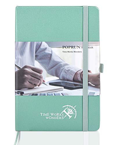 POPRUN Cuaderno A Rayas A5 de Tapa Dura - Libreta Lineas con 3 Índice y 235 Páginas Numeradas, Bucle de Lápiz y Bolsillo, Verde Medianoche