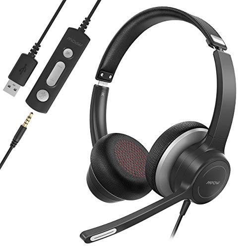 Mpow Computer Headset, USB-Headset / 3,5-mm Phone-Headset mit Mikrofon, Business Leicht Headset mit Rauschunterdrückungs-Soundkarte, Inline-Steuerung für Skype, Webinar, PC, Handy