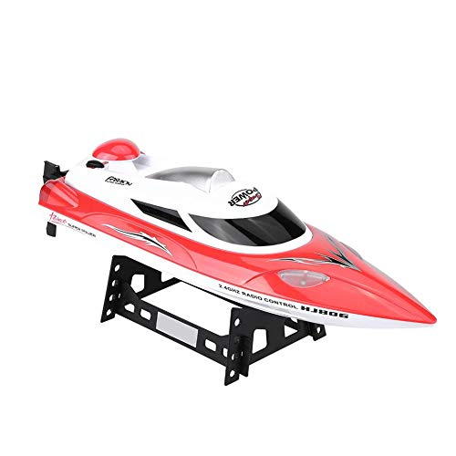 Dilwe RC Speed Boat Spielzeug Geschenk, HJ806 2,4 Ghz 200 m Fern Fernbedienung Boote für Pool und Seen, mit 540 Motor, Abstand Indikator, automatische Flip-Funktion(Rot)