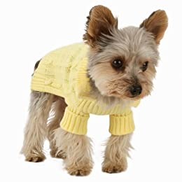yellow Aran dog jumper sweater
