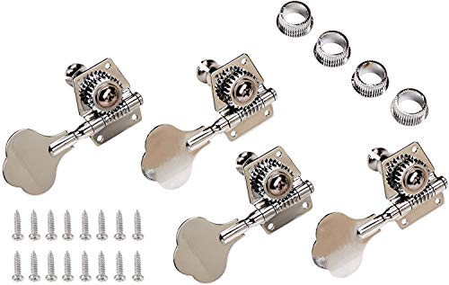 YMC Chrome-Tuning-Peg-Bass-4Cloverleaf 4 Pieces R Vintage Open Bass Tuners Machine Heads Knobs Chrome