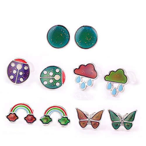 Vfhdd Pendientes mágicos de cambio de color de humor, mariposa nube arco iris mariquita