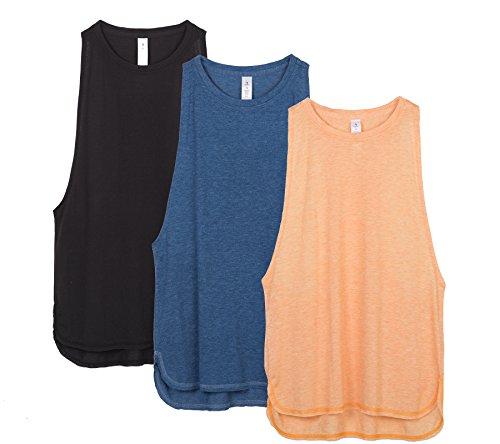 icyzone Sueltas y Ocio Camiseta sin Mangas Camiseta de Fitness Deportiva de Tirantes para Mujer(Paquete de 3) (S, Negro/Mezclilla/Calabaza)