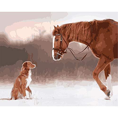 Pintura al óleo por números para adultos caballo gato Animal pintura por número decoración moderna del hogar Artcraft A5 40x50cm