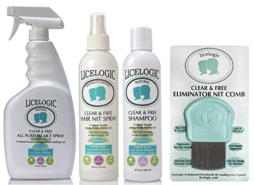 LiceLogic Family Sized Lice Treatment Kit Made with Natural LICEZYME - Non-Toxic, Safe, Hypoallergenic Super Lice & Nit Treatment Kit - Shampoo, Hair Spray, Household Spray and Comb - Peppermint