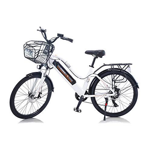 Hyuhome Bici elettriche di aggiornamento 2021 per donne adulte, fuoristrada 26' 36V 250 / 350W Batteria al litio nascosta agli ioni di litio rimovibile Bicicletta elettrica da montagna (White, 350W)