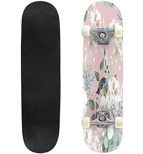 """Seamless Pattern with White alstroemeria Flowers Leaves and Berries Skateboard 31""""x8"""" Double-Warped Skateboards Outdoor Street Sports Skateboard for Beginners Professionals Cool Adult Teen Gifts"""