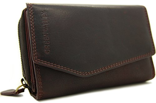 Damen Geldbörse Portemonnaie aus Hochwertig Büffel Vintage - Leder Kompakt Elegant mit vielen Karten Fächern und Platz Braun-Kirchrot