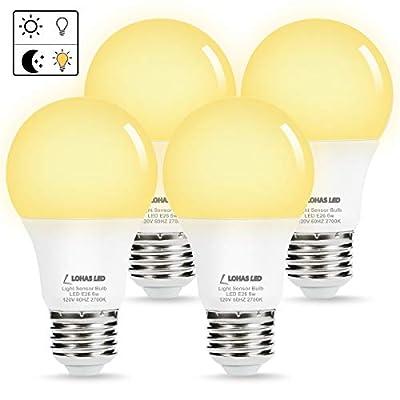 LOHAS Sensor Light Dusk Till Dawn LED Bulb, Light Sensor Porch Light Bulbs, A19 6W Daylight 5000K E26 LED Yellow Bug Light 2000K, 40W Equivalent Smart Auto On/Off