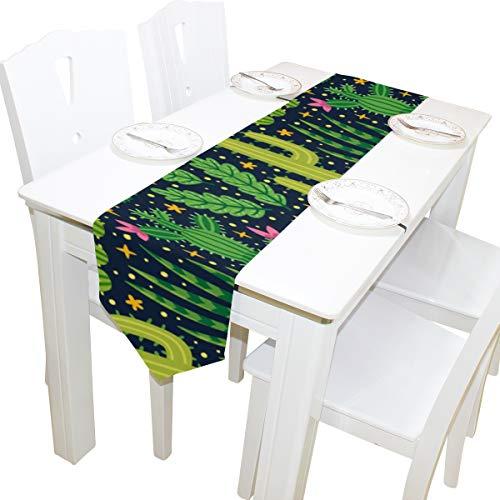 Yushg Kaktusfeige Grünpflanzen Kommode Schal Stoffbezug Tischläufer Tischdecke Tischset Küche Esszimmer Wohnzimmer Home Hochzeitsbankett Dekor Indoor 13x90 Zoll