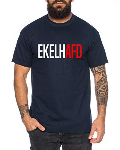 EKELHAFD Herren T-Shirt Cooles lustiges Fun-Shirt, Farbe:Dunkelblau, Größe:XL