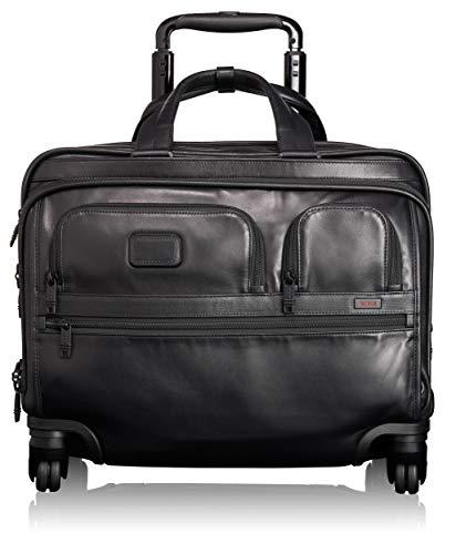 Tumi Alpha 2, Cartella in Pelle Deluxe con Tasca Laptop a 17' a 4 Ruote, Nero - 096627D2