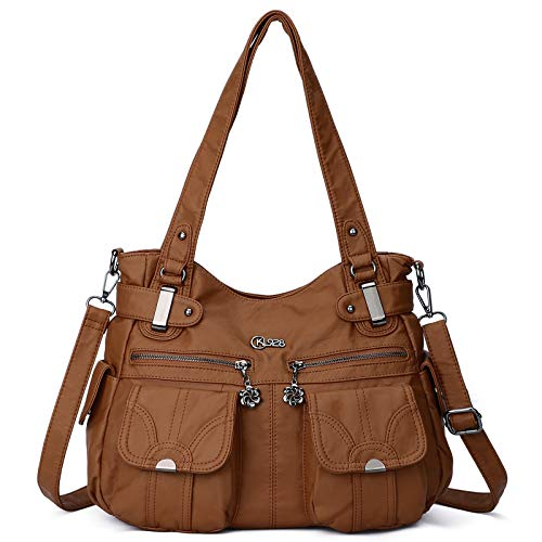 KL928 sacs à main femmes sac à bandoulière PU cuir souple dames sacs à main sac à bandoulière sacs à main pour femmes (Brown)
