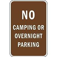 いいえキャンプや一晩駐車のブリキのサイン