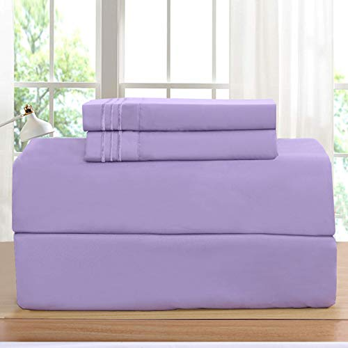 Elegant Comfort Luxurious Set on Amazon 1500 Thread Count Hotel Quality Wrinkle,Fade and Stain Resistant 2-Piece Pillowcases, Standard/Queen, Lilac