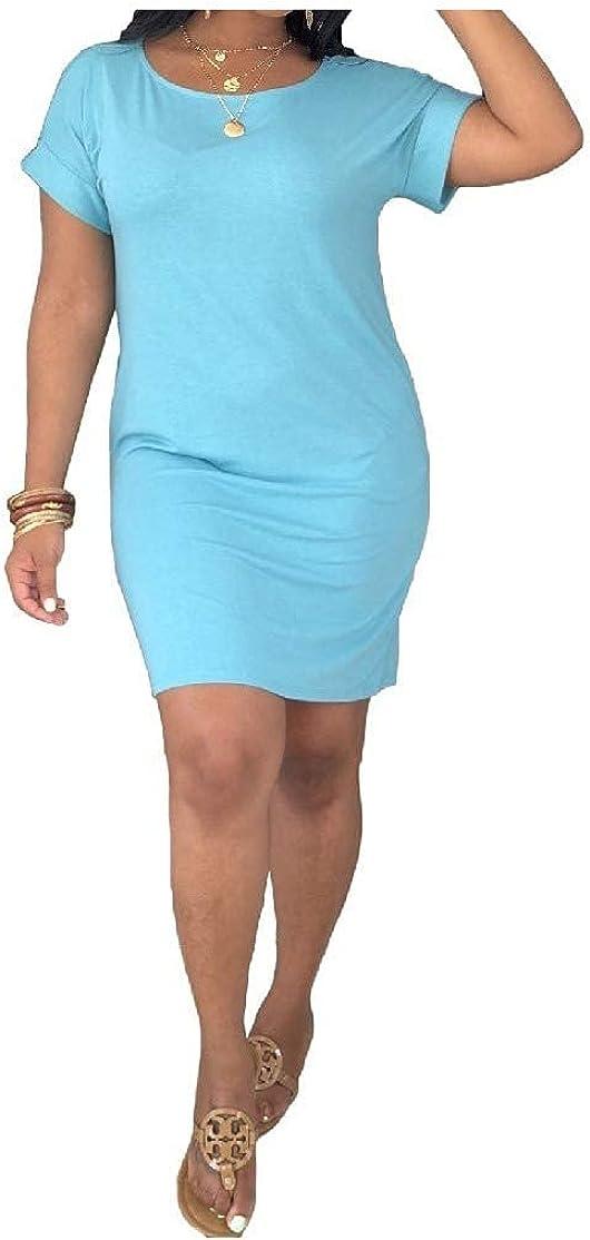 Women O-Neck Short Sleeves Curvy Bodycon Casual Pencil Sheath Dress