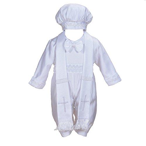 Cinda Robe de baptême en Satin pour garçon de 3 pièces avec Chapeau et écharpe 3-6 Mois