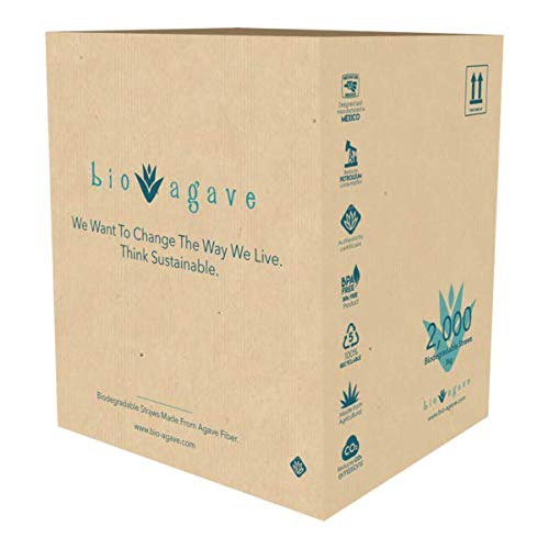 BIO AGAVE - 2,000 Pack INDIVIDUALLY WRAPPED 8.2 Straws Made From Agave Fibers Approved Bio...