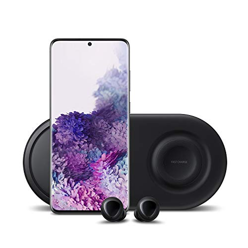 Samsung Galaxy S20+ Plus 5G Factory Unlocked 128GB   New Android Cell Phone Bundle   US Version   Cosmic Black   Includes Samsung Galaxy Buds & Samsung Duo Wireless Charging Station