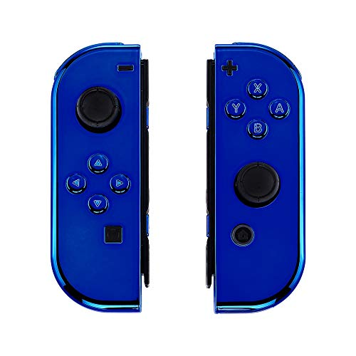 eXtremeRate Cover Impugnatura Custodia JoyCon Controller Case DIY Ricambio per Nintendo Switch Joy-Con(Blu Cromo) con Kit di Pulsanti-NON Include JoyCon