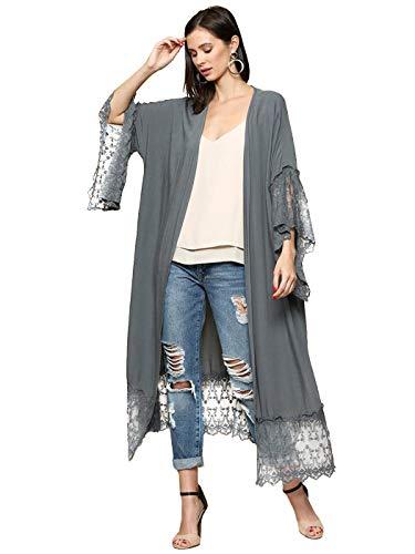 ANNA-KACI Lange Open Front Maxi Scallop Kant Boho Beach Coverup Kimono Cardigan