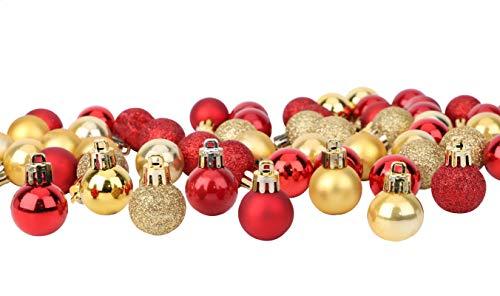 Toyland® Set Mit 64 Mini Weihnachtskugeln 32 Rot 32 Gold 2,5 cm (25 mm)