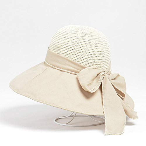 Sun Hat Straw Hat Women Sunhat Bow Knot Wide Brim Knitting Sun Protection Hats Beach Ladies Breathable Foldable Sunhats-Beige